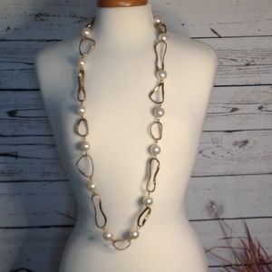 NWT Chico's Pearls and Metal Long Necklace